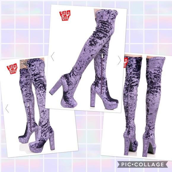 6636c12cd2d38 Dolls Kill Shoes   Dollskill Purple Crushed Velvet Thighhighs   Poshmark